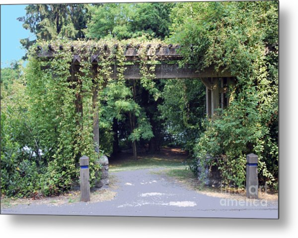 Wood Trellis Metal Print