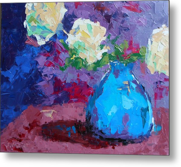 Yellow Roses In A Blue Vase Metal Print