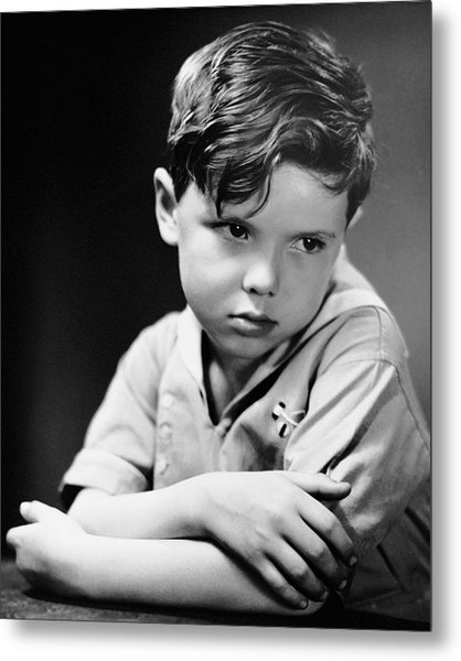 Young Boy Pouting Metal Print by George Marks