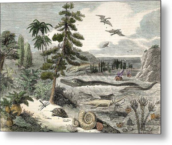 1833 Penny Magazine Extinct Animals Crop Metal Print by Paul D Stewart
