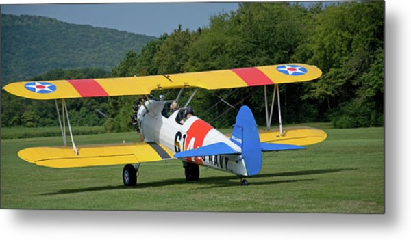 1941 Stearman Taxiing For Takeoff Metal Print by Jim and Kim Shivers