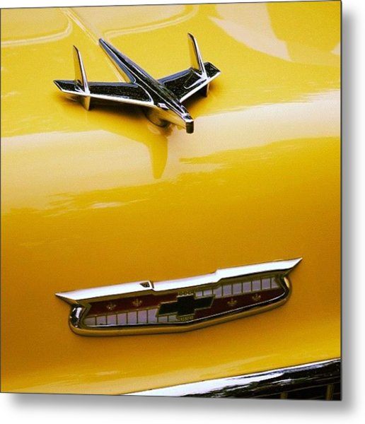 1955 Chevy Bonnet Badges. #car Metal Print