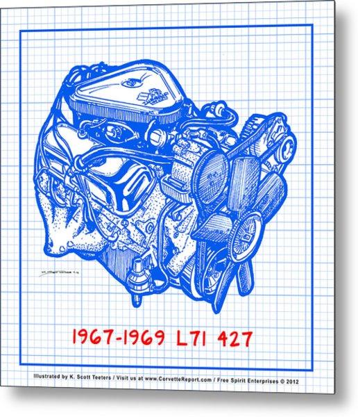 1967 - 1969 L71 427-435 Corvette Engine Blueprint Metal Print