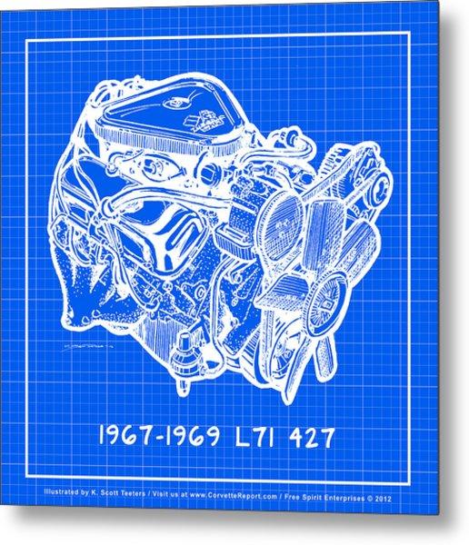 1967 - 1969 L71 427-435 Corvette Engine Reverse Blueprint Metal Print