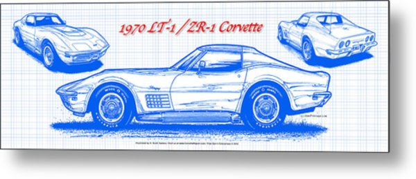 1970 Lt-1 And Zr-1 Corvette Blueprint Metal Print
