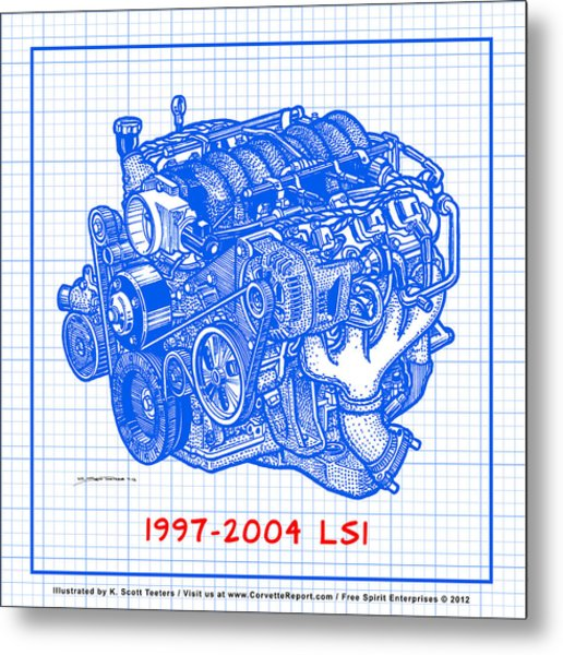 1997 - 2004 Ls1 Corvette Engine Blueprint Metal Print