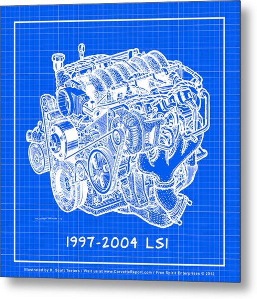 1997 - 2004 Ls1 Corvette Engine Reverse Blueprint Metal Print