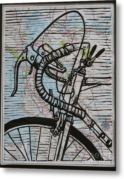 Bike 2 On Map Metal Print