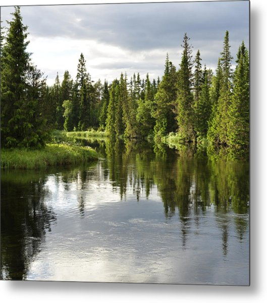 Calm Lake Reflection Metal Print by Conny Sjostrom