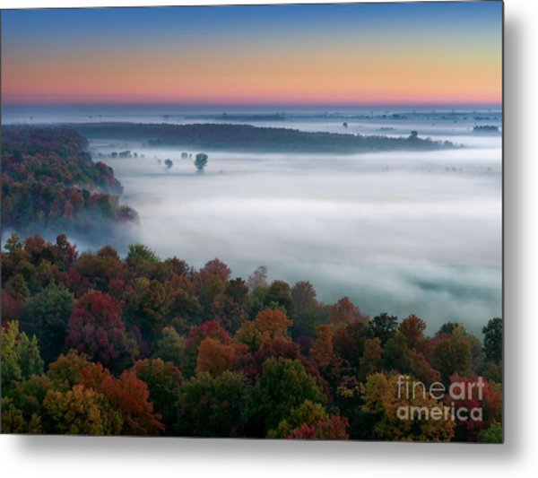Early Autumn Morning Fog On The Richelieu River Valley Quebec Ca Metal Print