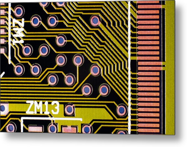 Macrophotograph Of A Circuit Board Metal Print by Dr Jeremy Burgess
