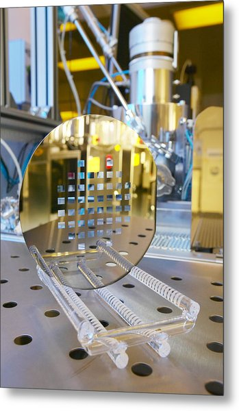 Mems Production, Machined Silicon Wafer Metal Print by Colin Cuthbert