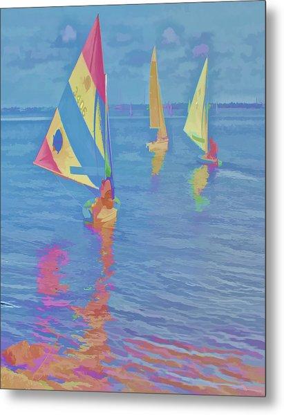 Sailing The Blue Metal Print