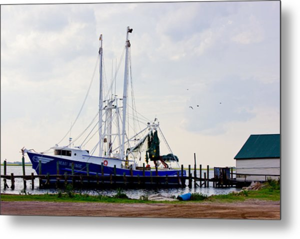 Shrimp Boat At Dock Metal Print by Barry Jones