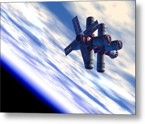 Space Hotel, Artwork Metal Print by Victor Habbick Visions