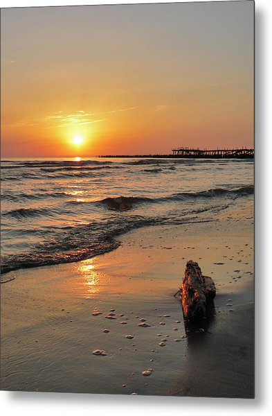 Sunset At Sea Coast Metal Print