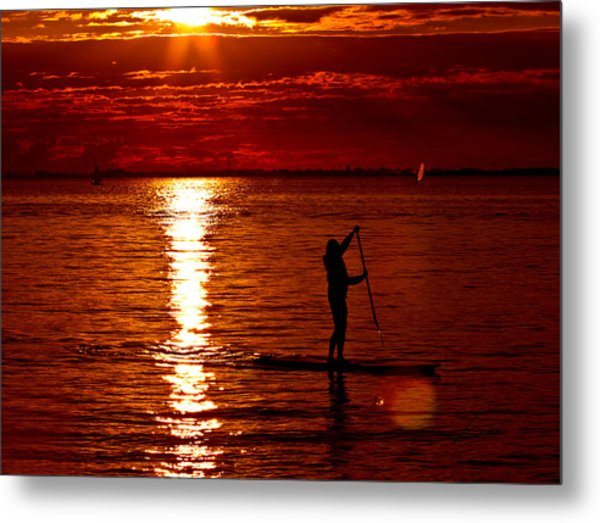 Sunset Silhouette Metal Print by Barbara  White