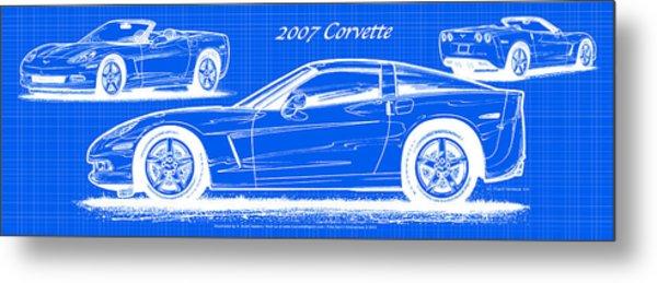 2007 Corvette Blueprint Series Metal Print