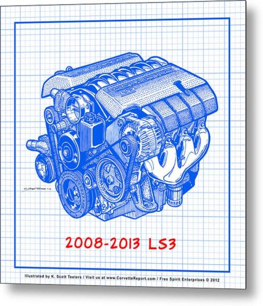 2008-2013 Ls3 Corvette Engine Blueprint Metal Print