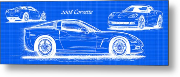 2008 Corvette Reverse Blueprint Metal Print