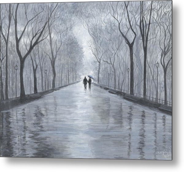 A Walk In The Park In Black And White Metal Print