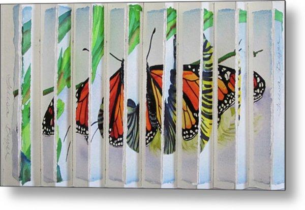 3 D Caterpillar And Butterfly Metal Print