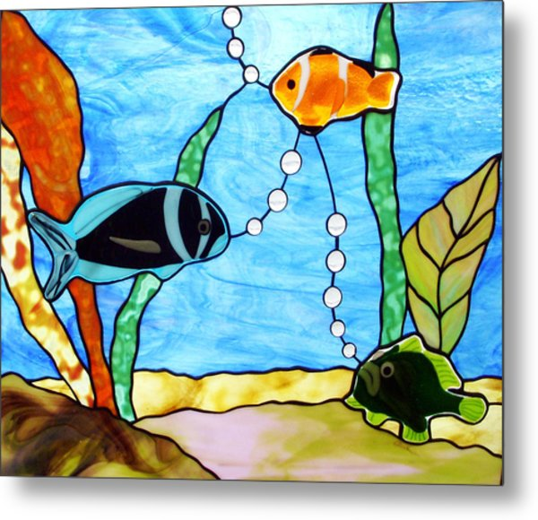 3 Fishes In The Sea Metal Print by Jane Croteau