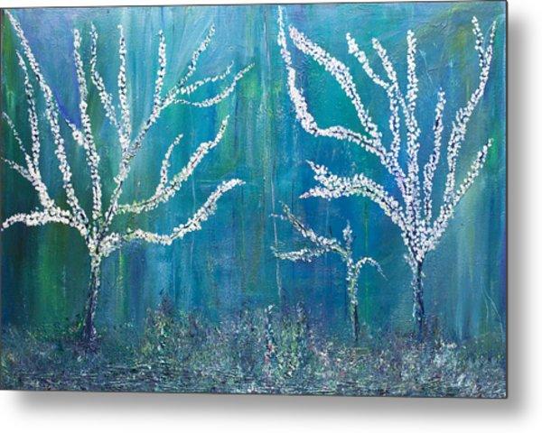 3 White Trees Metal Print
