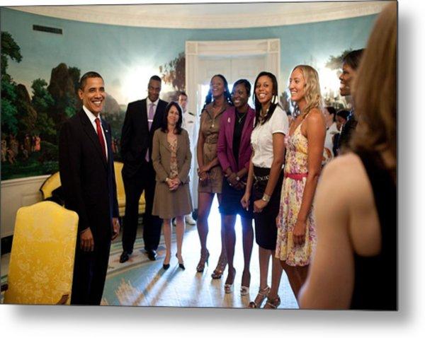 President Barack Obama Meets Metal Print by Everett