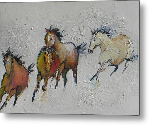 4 Wild Horses Painted Metal Print