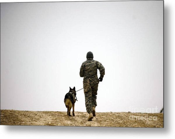 A Dog Handler And His Military Working Metal Print