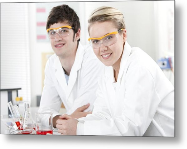 Pupils In A Science Lesson Metal Print by