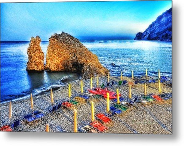 Metal Print featuring the mixed media 5 Terre Monterosso Beach Umbrellas In Passeggiate A Levante by Enrico Pelos