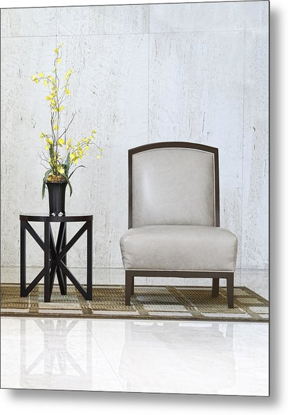 A Chair And A Table With A Plant  Metal Print