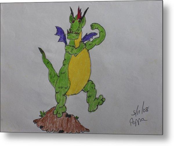 A Dragon Cartoon Character Metal Print