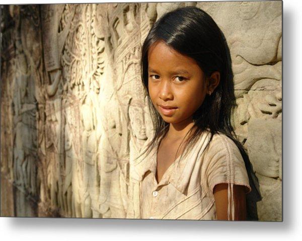 A Girl At Bayon In Cambodia. Metal Print