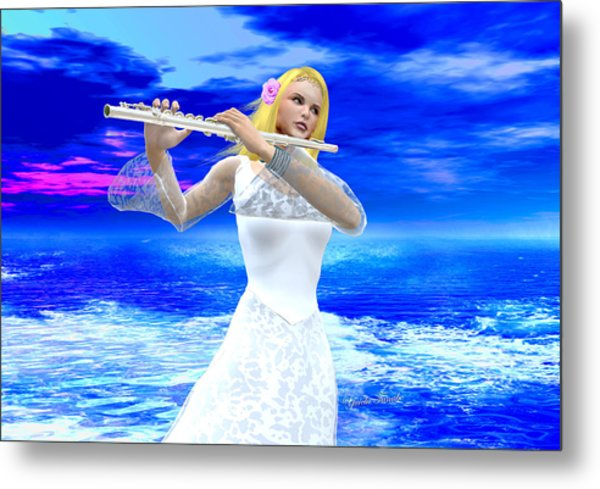 A Girl Playing Flute Metal Print