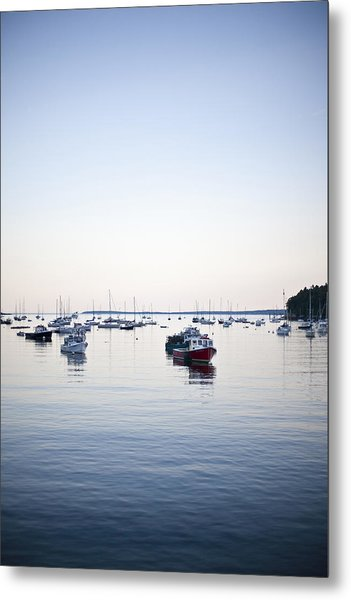 A Large Group Of Boats Float In A Maine Metal Print