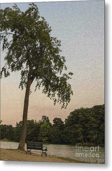 A Lonely Park Bench Metal Print