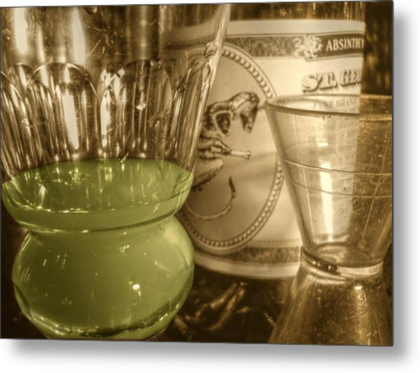 A Macro Sepia And Green Of Absinthe Metal Print by Jennifer Holcombe
