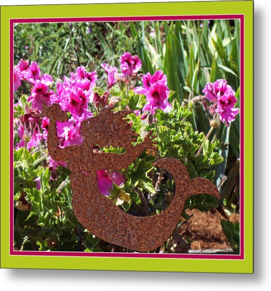 A Mermaid In My Garden Metal Print