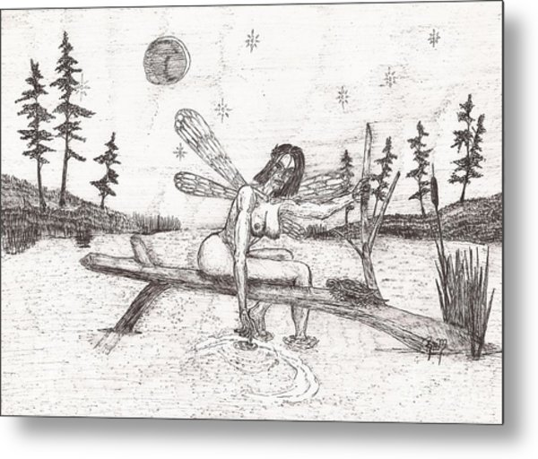A Moment With The Moon... - Sketch Metal Print by Robert Meszaros