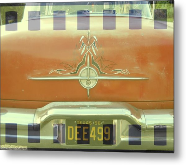 A Retro 1956 Orange Chevy With Textures Metal Print by Jennifer Holcombe
