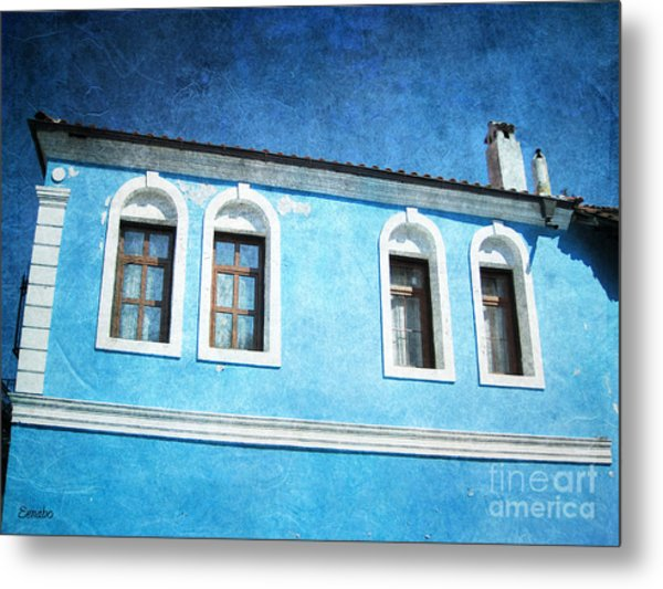 A Story In Blue Metal Print