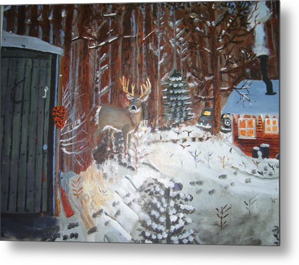 A Whitetail Buck In Back Of Cabin In The Snow Metal Print