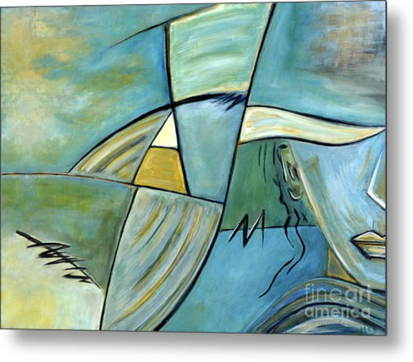 Beautiful Woman Contemporary Abstract Art Portrait Prints For Modern Living Rooms Metal Print by Marie Christine Belkadi