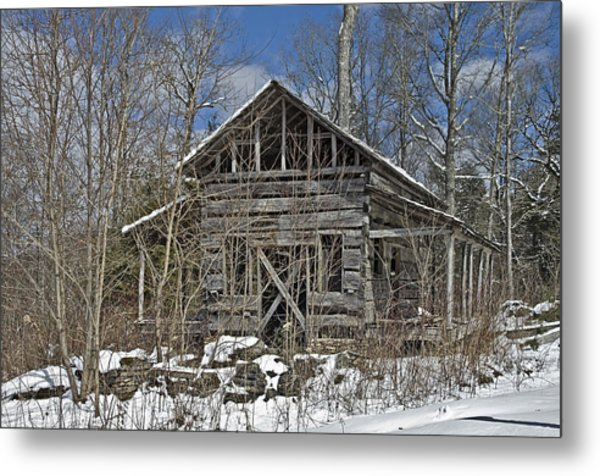 Abandoned House In Snow Metal Print