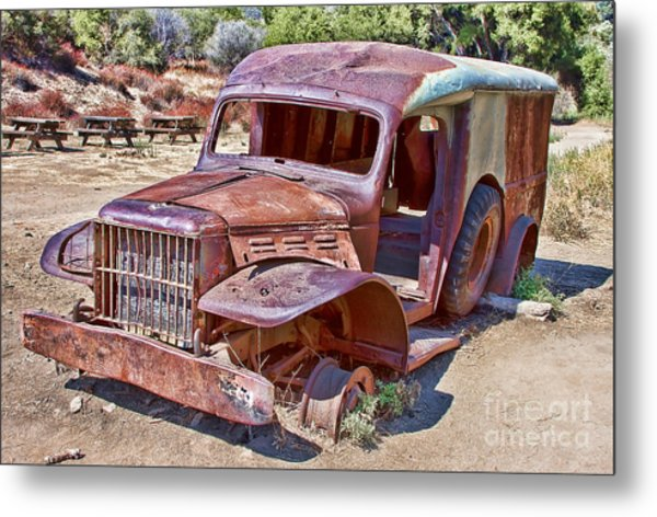 Abandoned Medic Truck Metal Print