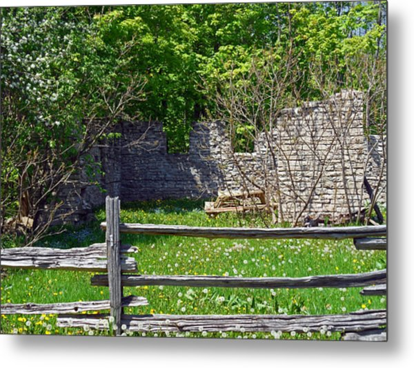 Abandoned Picnic Table Metal Print