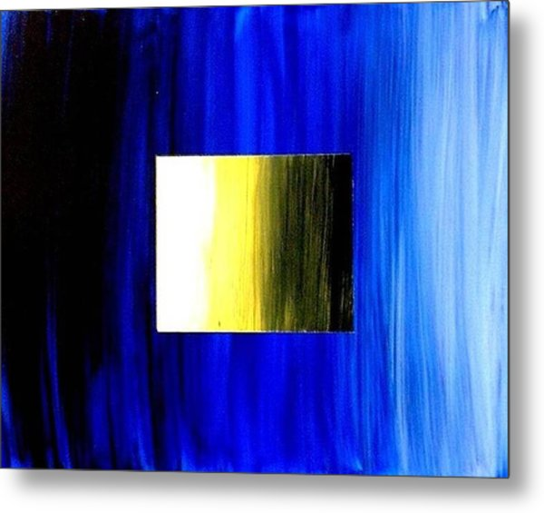 Abstract 3d Golden Blue  Square Metal Print by Teo Alfonso